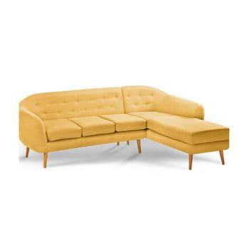 Canapea cu șezlong pe partea dreaptă Scandi by Stella Cadente Maison Constellation, galben