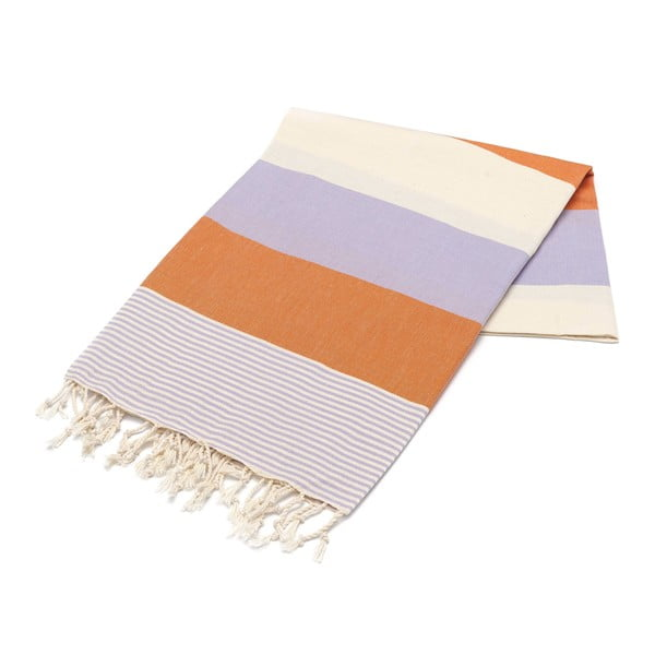 Hammam osuška American Stripes Orange & Lilac, 100x180 cm