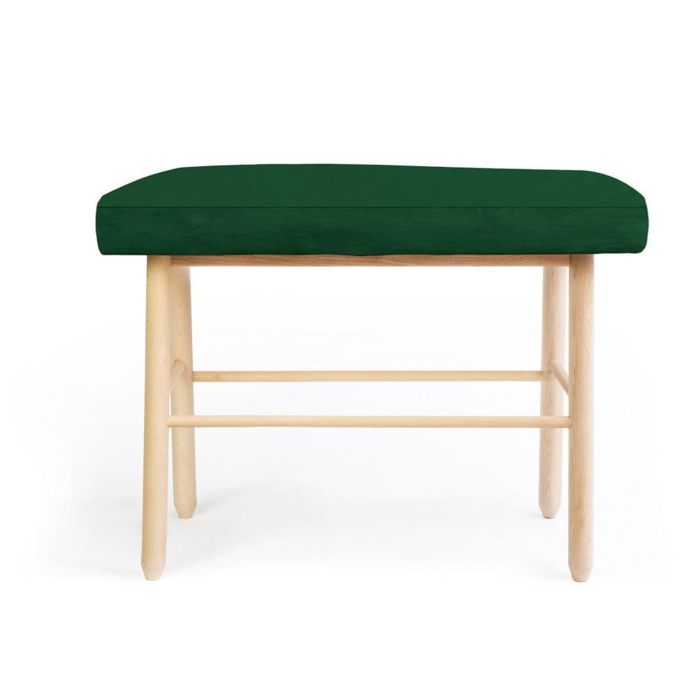 Stolička z borovicového dřeva s tmavě zeleným sametovým potahem Velvet Atelier
