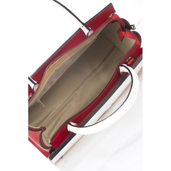 Kožená kabelka Advik, červeno-bílá