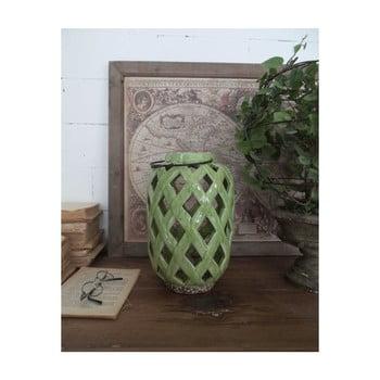 Felinar din ceramică Orchidea Milano, înălțime 28 cm, verde imagine