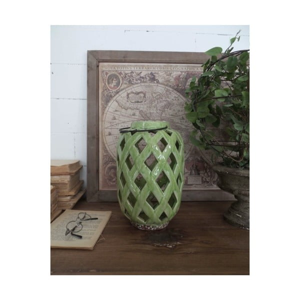 Zielona lampion ceramiczny Orchidea Milano, wys. 28 cm