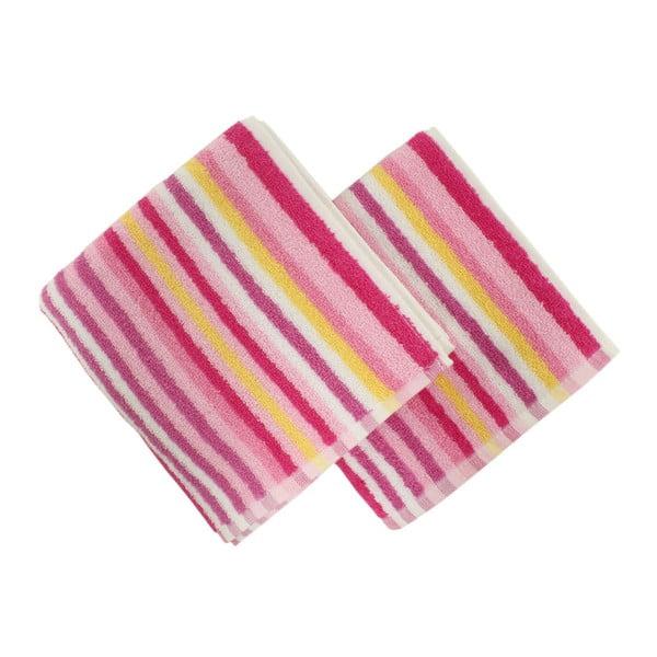 Sada 2 růžových ručníků Cizgi, 40x80cm
