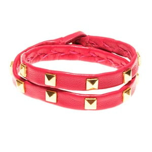 Náramek Leather stud double gold, cerise