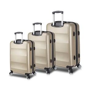 Sada 3 cestovních kufrů na kolečkách s USB porty ve zlaté barvě My Valice LASSO Travel Set