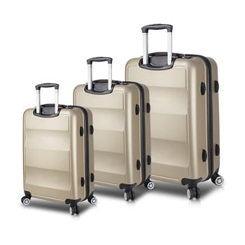 Set 3 valize cu roți și port USB My Valice LASSO Travel Set, auriu de la Myvalice
