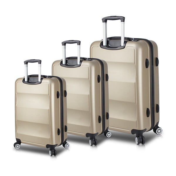 Set 3 valize cu roți și port USB My Valice LASSO Travel Set, auriu