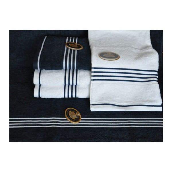 Ručník Rio Negative Navy Blue/White Stripes, 70x140 cm