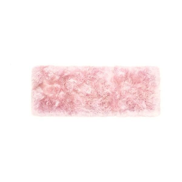 Růžový běhoun z ovčí vlny Royal Dream Zealand, 190x70cm