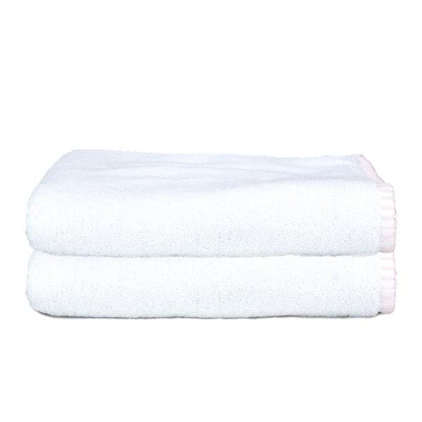 Sada 2 ručníků Whyte 50x90 cm, bílá/růžová
