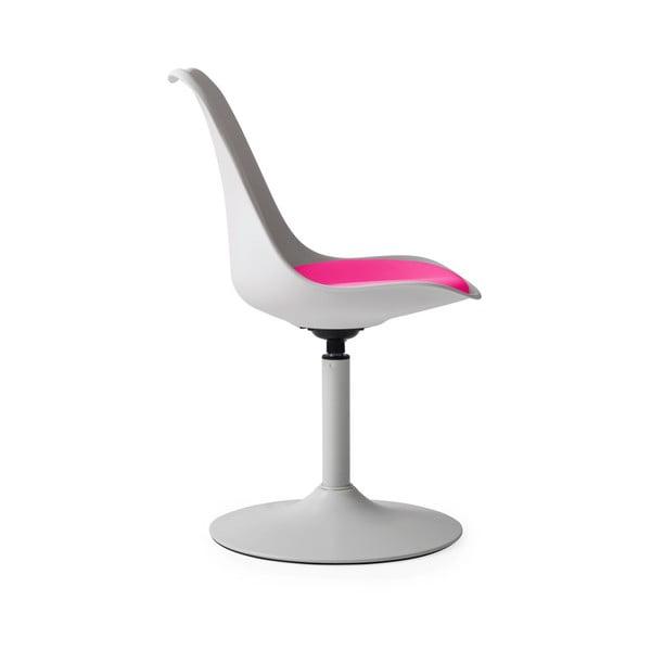 Bílá jídelní židle s růžovým podsedákem Tenzo Viva