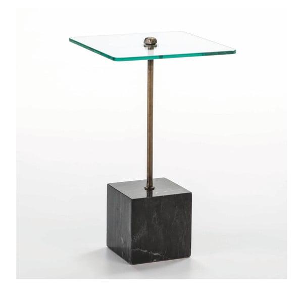 Odkládací stolek ze skla a černého mramoru Thai Natura Delirium, Ø 40 cm