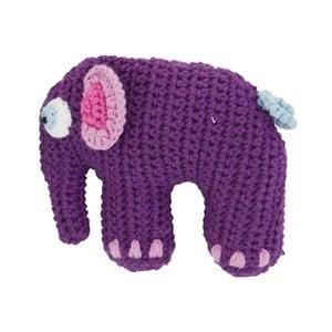 Pletená fialová dětská hračka Sebra Crochet Elephant