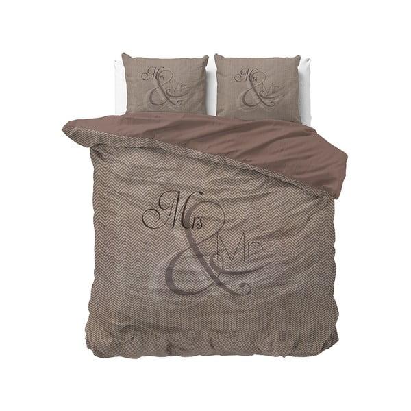 Hnedé bavlnené obliečky na dvojlôžko Pure Cotton Mr and Mrs Knitted, 200 x 200/220 cm