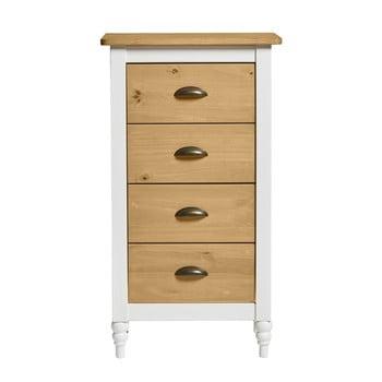 Comodă cu 4 sertare din lemn masiv de pin Marckeric Iryna, alb, înălțime 82 cm de la Marckeric