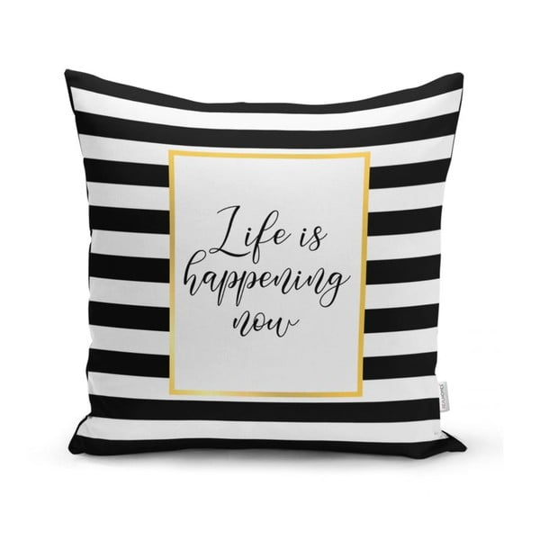 Povlak na polštář Minimalist Cushion Covers BW Stripes With Motto, 45 x 45 cm