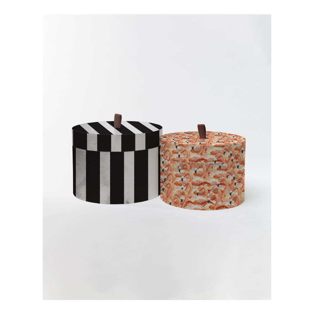 Sada 2 kulatých úložných boxů ze sametu Velvet Atelier Stripes