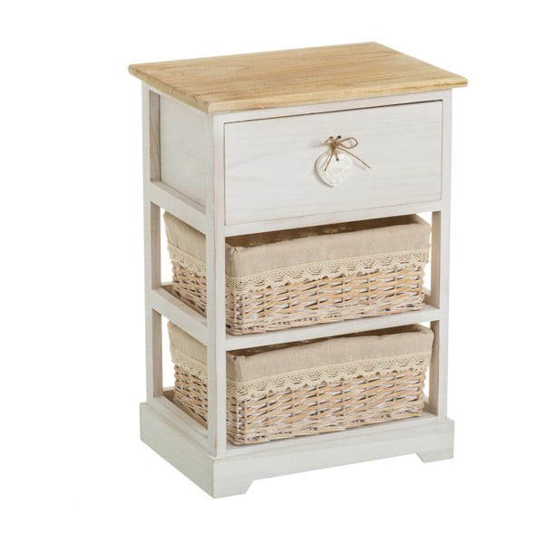 Komoda z drewna paulownia z szufladą i 2 koszykami Unimasa Jeanette, wys. 58 cm