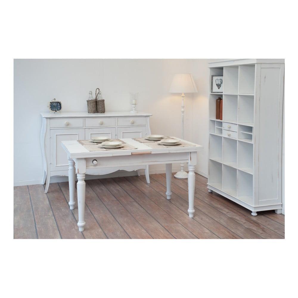 Bílý dřevěný jídelní stůl s výsuvnou pracovní deskou Castagnetti, 140 x 80 cm