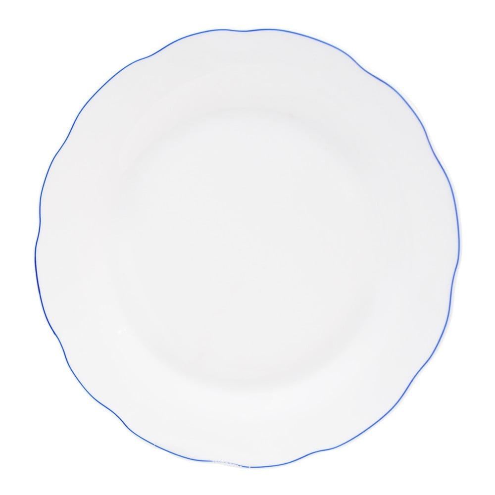 Bílý porcelánový mělký talíř Orion Blue Line, ⌀ 26,5 cm