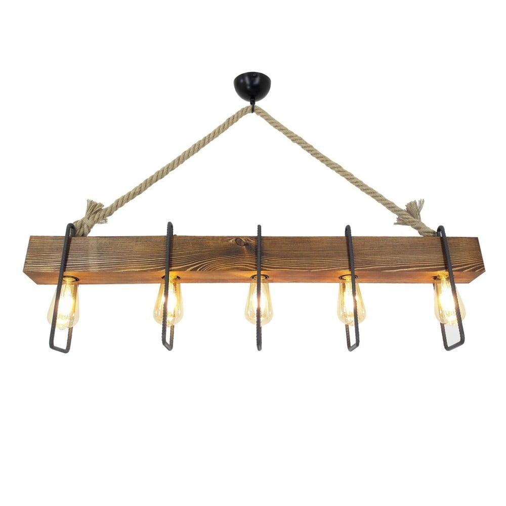 Dřevěné stropní závěsné svítidlo Demir, 5 žárovek