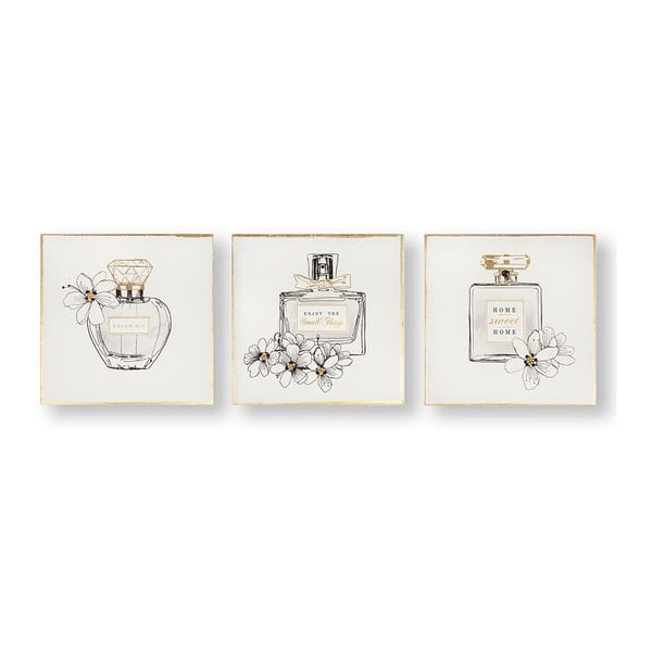 Set 3 tablouri Graham & Brown Pretty Perfume Bottles, 30 x 30 cm