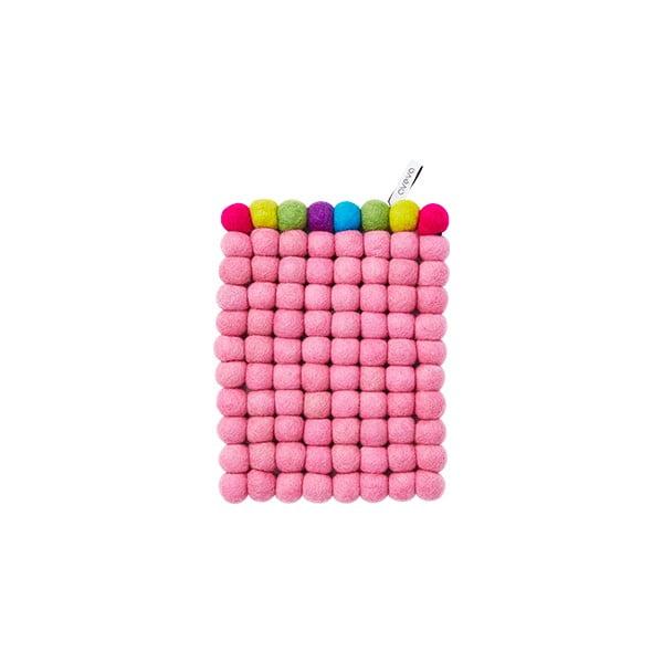 Vlněná podložka Trivet Pink/Multi, 22x17 cm