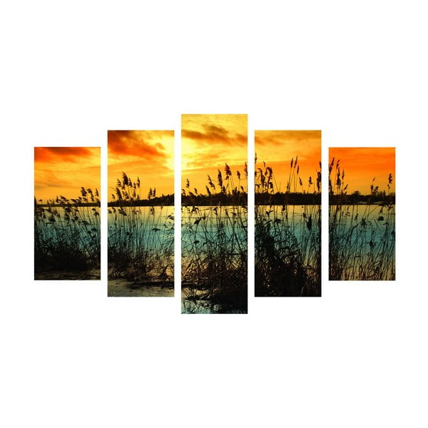 5dílný obraz Romantic Lake, 60x100 cm