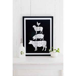 Poster Follygraph Meat Cuts Black, 21 x 30 cm