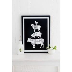 Černý plakát Follygraph Meat Cuts, 21x30cm