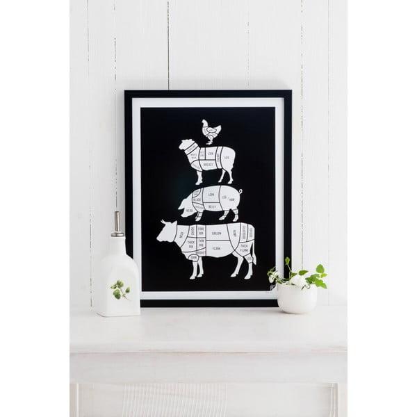 Černý plakát Follygraph Meat Cuts, 40x50cm