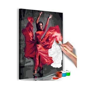 DIY set na tvorbu vlastního obrazu na plátně Artgeist Red Dress, 40x60 cm
