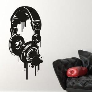Samolepka na stěnu Headphones, černá