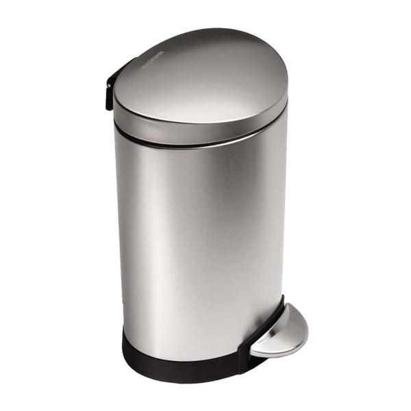 Stříbrný matný koupelnový koš simplehuman, 6 l