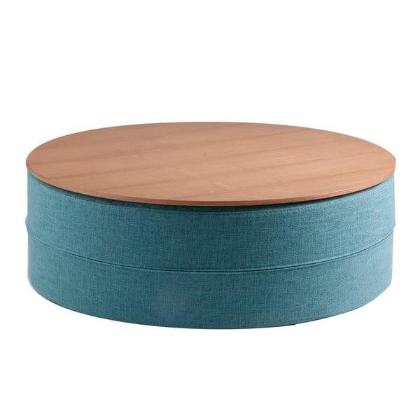 Turkusowy stolik z blatem w dekorze drewna dębowego sømcasa Mauro