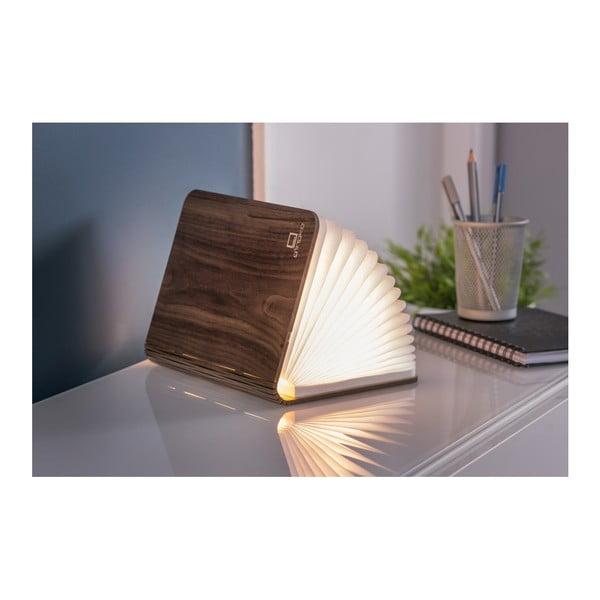 Tmavě hnědá LED stolní lampa ve tvaru knihy ze dřeva ořechu Gingko Standard