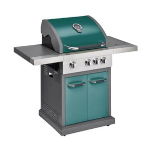 Zelený plynový gril se 3 samostatně ovladatelnými hořáky, teploměrem a bočním ohřívačem Jamie Oliver Pro