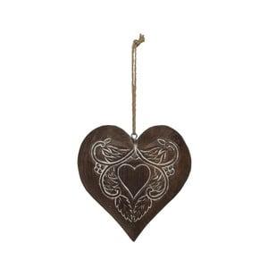 Dřevěná závěsná dekorace ve tvaru srdce Antic Line Lily