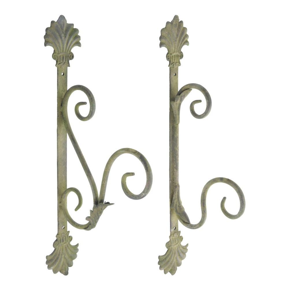 Sada 2 háčků se zelenou patinou Esschert Design, výška 34,7 cm