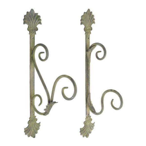 Set 2 cârlige metalice Esschert Design, înălțime 34,7 cm, patină verde