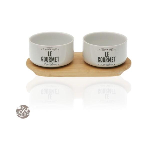 Sada 2 porcelánových misek s bambusovým podnosem Versa Gourmet