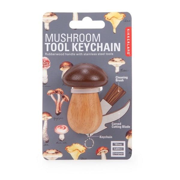 Set nožíka a štetca na huby ako prívesok na kľúče Kikkerland Mushroom