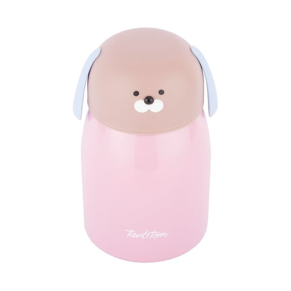 Różowa nierdzewna butelka termiczna Tantitoni Cute Doggy, 280 ml