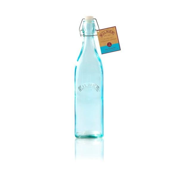 Modrá láhev s klipem Kilner, 1 l