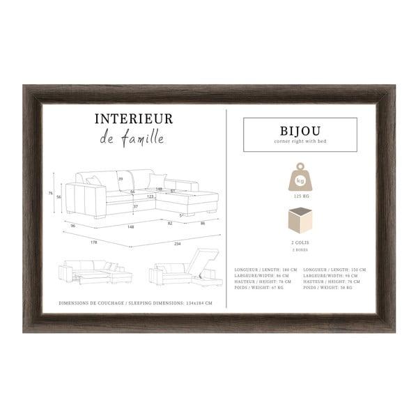 Mentolová rohová rozkládací pohovka s úložným prostorem INTERIEUR DE FAMILLE PARIS Bijou, pravý roh