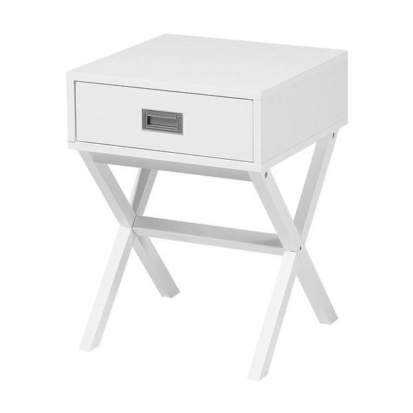 Bílý noční stolek s 1 šuplíkem Monobeli Frey