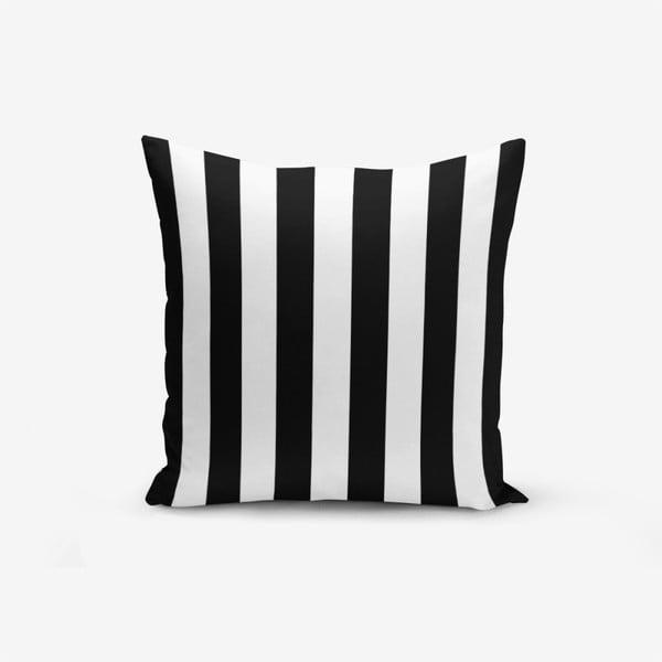 Față de pernă cu amestec din bumbac Minimalist Cushion Covers Black White Striped, 45 x 45 cm, negru - alb