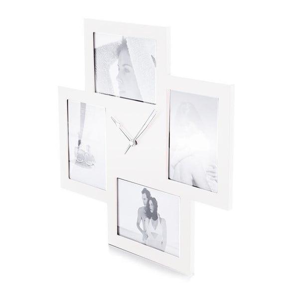 Bílé nástěnné hodiny sfotorámečkem Tomasucci Collage