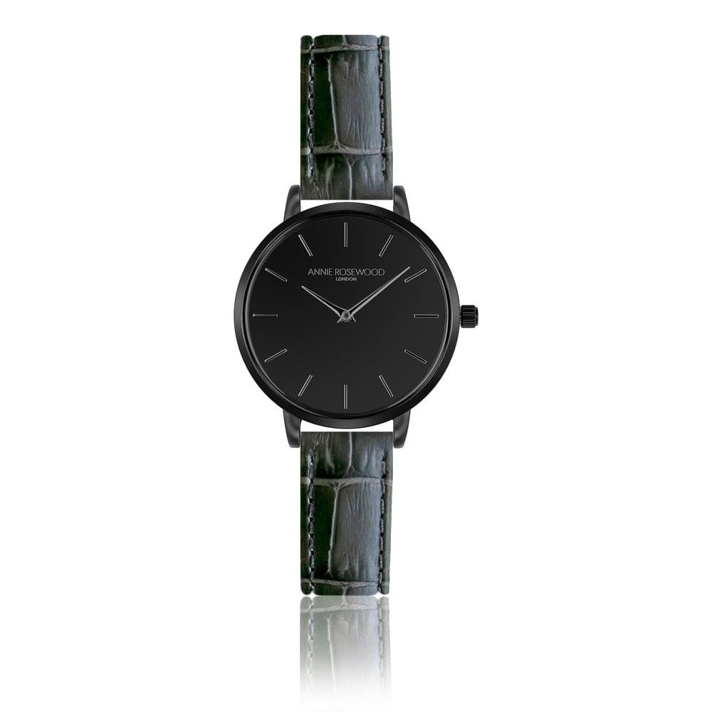 Černé hodinky skoženým řemínkem Annie Rosewood Gray Knight