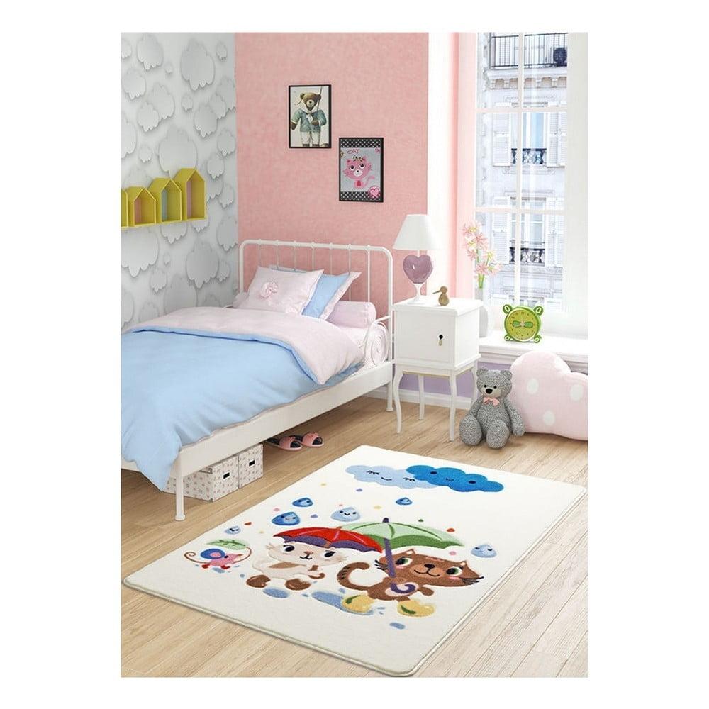 Dětský bílý koberec Confetti Rainy Day, 100 x 150 cm